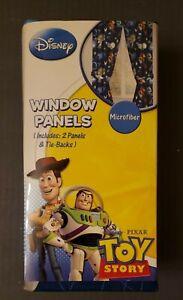Disney Pixar Toy Story Window Curtain Panels and Tie Backs 42x63, New
