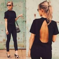 Women Summer Tops Loose Tee Short Sleeve T Shirt Back Hollow Casual Blouse Tops