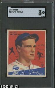 1934 Goudey #22 Floyd Vaughan Pittsburgh Pirates HOF SGC 3 VG