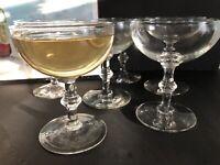 .Vintage Art Deco set of 6 stemware coupe champagne cocktail glasses