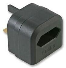 2 Pin Euro Plug to 3 Pin UK Mains Adapter - Battery Charger Adapter 3A- Black