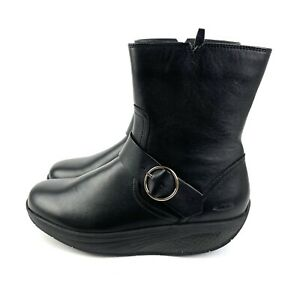 MBT Magee Mid Boot Black Nappa 37 Zip Up Rocket Ankle Boot Womens Brand New