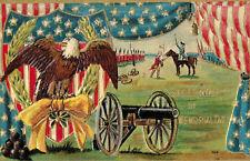 Memorial Day Greetings Postcard,Embossed,Eagle,Canon,Flags,Patriotic,c.1909