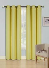 """2 PANEL SOLID YELLOW THERMAL 100% BLACKOUT GROMMET WINDOW CURTAIN 84"""" L #68"""