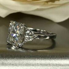 Certified 4.00Ct White Radiant Cut Diamond Engagement Solid 14K White Gold Ring
