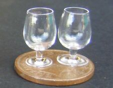 1:12 Scale 2 Brandy Glasses With A Clear Base Tumdee Dolls House Miniature GLA28