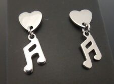 8mm Stainless Steel Heart Studs Stud Earrings ~ SMALL Music Note Dangle Charm