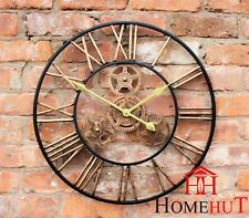 LARGE INDOOR OUTDOOR GARDEN WALL CLOCK ROMAN NUMERALS GIANT OPEN FACE METAL 58CM