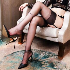 """1Pr 10 Denier Ult Sheer Plain Knit SUPER SILKY Nude Heel Nylons BLACK 10.5Lx34"""""""