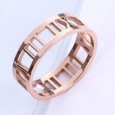 Men Women Roman Numerals Rose Gold Couple Titanium Stainless Steel Hollow Ring