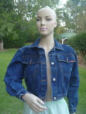 Vintage JORDACHE Dark Blue Wash Denim Jacket Zipper Back Truckers Womens Sz M