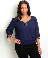 WOMEN'S PLUS SIZE FLIRTY NAVY BLUE TOP WITH FRINGE ACCENT SLEEVES 2XL NWT