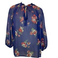 Lucky brand Blouse top blue floral semi sheer size medium Women's BoHo
