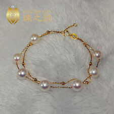 """7.5-8"""" Gorgeous AAA+ 7.5-8mm real natural Akoya white round pearl bracelet 18k"""