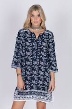 RAGA Moonriver Shirt Dress Navy Print 3/4 Sleeve Shift Dress - sz. L - NWT