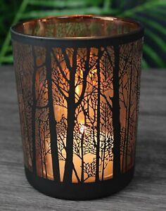 Glass Hurricane Candle Holder Matt Black & Copper Woodland Design 10 x 12.5cm