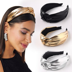 Bright Color PU Leather Knotted Headband Wide Brimmed Head Hoop Hair Accessories