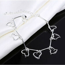 NEW 925 Sterling Silver Plated Shiny Love Heart Beads Bangle Bracelet Chain Gift
