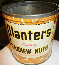 "VINTAGE PLANTERS TIN SALTED CASHEW NUTS KEYWIND 4"" PEANUTS 14.5 OZ CAN,NO lid"