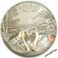 Silver coin with a hologram Love Always (Swans) circulation of 999 pieces
