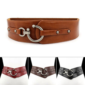 Women's PU Leather Fashion Wide Elastic Stretch Waistband Corset Cinch Belts