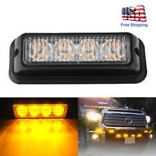 Amber 4 LED Car Truck Emergency Beacon Warning Hazard Flash Strobe Light Bar USA