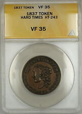 1837 Hard Times Token H. Crossman Chatham St. New York HT-243 ANACS VF-35