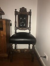 Antique Edwardian Carved High Back Leather Chair