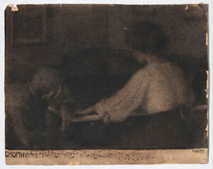 Symbolist drawing around 1900 pianist playing Chopin, by E. Voit, signed
