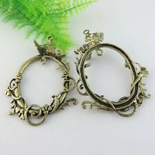 5PCS Antiqued Style Bronze Alloy Butterfly Circle Pendant Jewelry Findings 38971