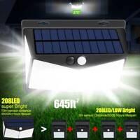 208 LED Solar Power Light PIR Motion Sensor Wall Lamp Garden Waterproof Outdoor