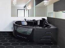 Luxus Whirlpool Badewanne SCHWARZ mit Glas LED Licht Wasserfall für Bad 155 cm