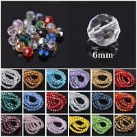 100Pcs 6mm 32 Facets Faceted Czech Crystal Glass Loose Beads DIY Jewelry Making