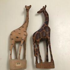 Hand Carved Wood Foot Tall Giraffes