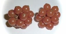VINTAGE - GLOSSY CORAL LUCITE BEAD CLUSTER SCREW-ON EARRINGS
