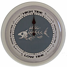 "TIDE CLOCK ""Bone Fish"" #242W Dial with 10"" white plastic frame"