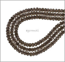 """15.8"""" Smoky Quartz Faceted Rondelle Beads 4mm #78269"""
