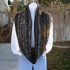 New Handmade Crochet Knit INFINITY SCARF Black White Brown Gray Grey Circle Loop