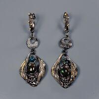 Black Opal Earrings Silver 925 Sterling Special Sale Discount!  /E41721