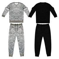 Men's Velour Jogging Set Loungewear Sweatshirt Bottom Tracksuit Top Slim Fit Set