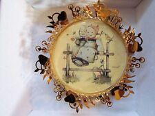 "Hummel Ornament""Coquettes&# 034; 24K Gold Plate Christmas Beautiful Euc Free Shiping"