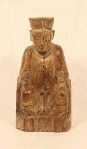 Ming Dynasty wood ancestor carving of a seated gentleman