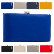 New Ladies Synthetic Leather Hardcase Evening Party Clutch Bag Purse
