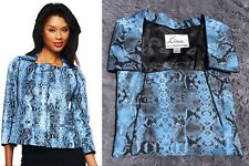 Linea by Louis Dell'Olio Python Print Jacket Piping Detail 2X Blue NEW A221791
