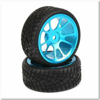 4x RC 1:10 On-Road Car Fish Pattern Rubber Tire & Alloy 10-Spoke Blue Wheels Rim