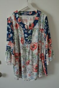 NWT DR2 By Danielrainn Boho Peasant Blouse Top Tunic Rayon Plus Size 2X