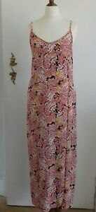 M & S Red Floral Strappy Summer Dress Long Size 8 Crinkle Effect BNWT