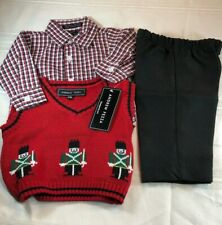 Andrew Fezza infant Boys Holiday Outfit 3 Piece Set Plaid Shirt Vest Pants  NWT