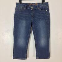 Seven7 Womens Crop Jeans Size 14 Blue Denim Capri Stretch Cropped Distressed