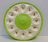 """Vintage Porcelain Floral Design Deviled Egg Oyster Plate Tray 9.5"""""""